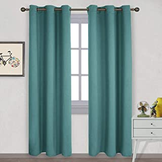 NICETOWN Thermal Insulated Solid Grommet Blackout Curtains/Drape for Living Room (Sea Teal, 1 Pair, 42 by 84-Inch)