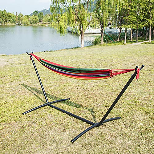 LJFZMD Hammock with Stand, Double Cotton Hammock with 350lb Load Capacity Indoor Outdoor Garden Camping Swing for Kids Adult, 200 * 150cm,Red