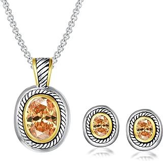 UNY Elegant Wedding Jewelry Sets CZ Crystal French Clip Earring Enhancer Pendant Designer Inspired Valentine Gifts