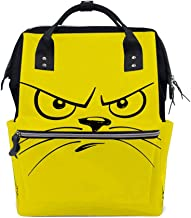 Kuizee Multipurpose Backpack Daily Rucksack Cartoon Unhappy Cat Face Mutispandex Casual Daypack Mummy Bag School Travel 15.7Inch