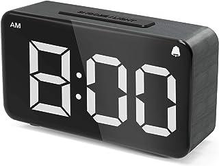 ساعت زنگ دار ، ساعت زنگ دار دیجیتال برای اتاق خواب LED ساعت رومیزی کوچک با روشنایی کم نور قابل تنظیم ، 12/24 ساعت ، تعویق ، استفاده از برق در کنار ساعت با آداپتور ، ساعت دانه ای چوبی برای بزرگسالان و بزرگسالان