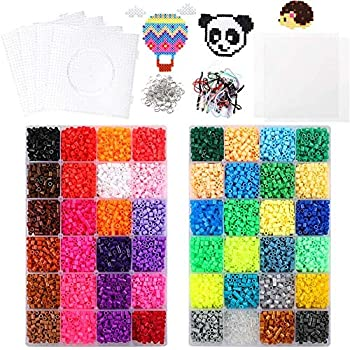 4 Big Square Pegboards Including 127 Patterns Fuse Beads 25,000 pcs Fuse Beads Kit 26 Colors 5MM Ironing Paper Tweezers 1 Flower Pegboards 1 Heart Pegboards Perler Beads Compatible by INSCRAFT