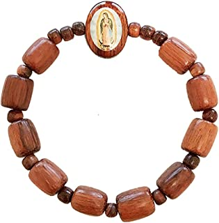 Our Lady of Guadalupe Oval Wooden Bracelet Rosary Decade Stretch | Wood Medal