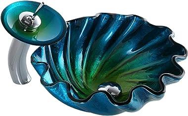 KunMai Blue&Green Seashell Wave Tempered Glass Bathroom Vessel Sink & Waterfall Faucet Set Chrome