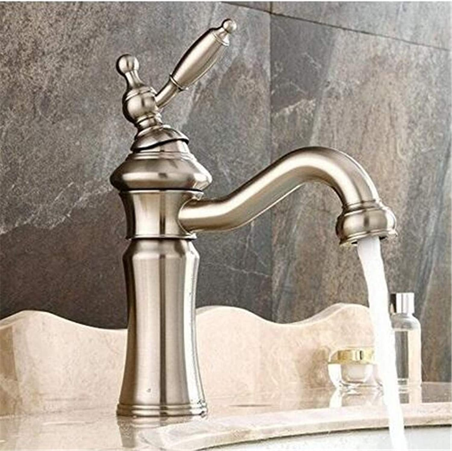 Double Handlefaucets Basin Mixer Faucet Nickel Brushed Brass Material Single Lever Hot and Cold Sink Bathroom Basin Faucet