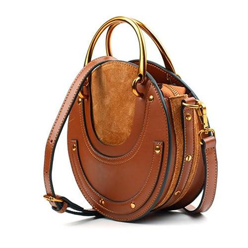 de76c345e1 Actlure Women Genuine Cowhide Leather Round Shape Top handle Shoulder Purse  Crossbody Bag
