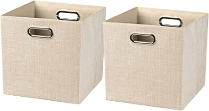 Foldable Storage Bins,13×13 Storage Cubes Basket Containers for Shelf Cabinet Bookcase Boxes,Thick Fabric Drawers - Set of...