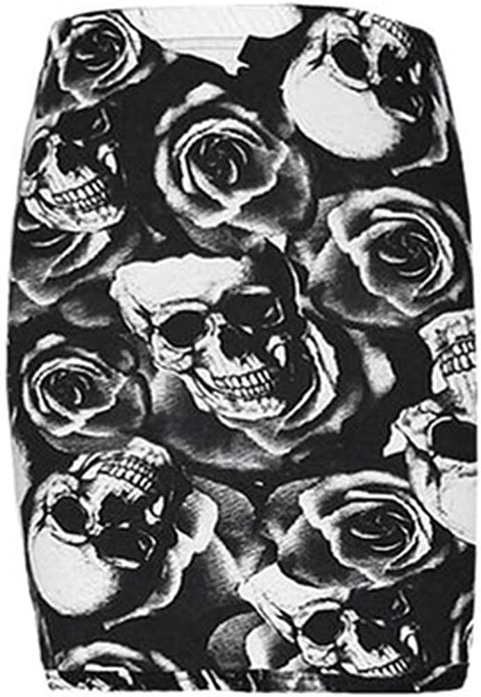 Forever Womens Leopard Skull Tartan Stripe Print Viscose Jersey Mini Skirt