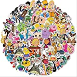 ZZHH 100 unids/Set de Varios Personajes de Dibujos Animados Mixto Graffiti Impermeable monopatín Maleta de Viaje teléfono móvil Equipaje portátil