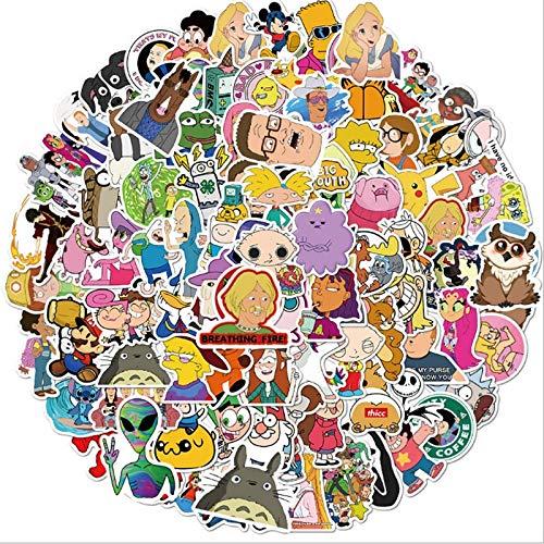 BUCUO Varios Personajes de Dibujos Animados Mezcla de Grafiti Impermeable monopatín Maleta de Viaje teléfono móvil Equipaje Pegatinas niños Lindos 100 Uds