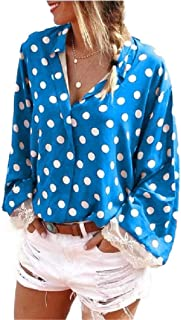 Howely Women's Casual Long Sleeve Polka Dot Loose V-Neck Blouse Top