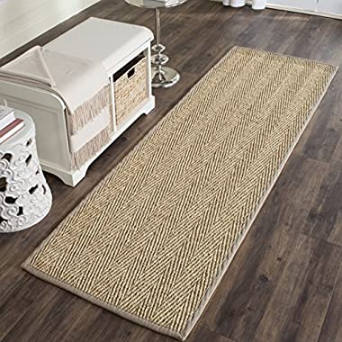 Safavieh Natural Fiber Collection NF115P Herringbone Natural and Grey Seagrass Runner (2'6  x 8')