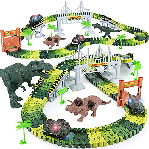 Dinosaur Toys,Create A Dinosaur World Road Race,Flexible Track Playset and 2 pcs Cool Dinosaur car for 3 4 5 6 Year & Up Old boy Girls Best Gift