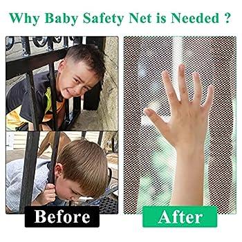 Filet de sécurité pour enfants, filet de sécurité pour balcon et escalier pour bébé, clôture d'escalier robuste et réglable pour protéger les enfants et les animaux domestiques (10Lx2.5H) Blanc