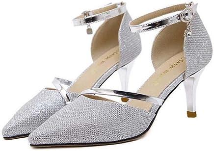 Pump 11cm Stiletto Pointed Toe Dorsay Ankle Strap Dress Shoes Women Charming Pure Color Hollow Belt Buckle Ol Court Shoes Eu Size 34-40