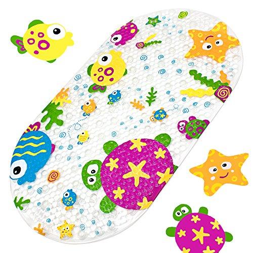 Tapis de baignoire pour enfants, tapis de bain antidérapant pour bébé, anti-moisissures, tapis de sécurité, tapis de bain pour pour douche de salle de bain avec ventouses fortes 39 X69CM (Océan )