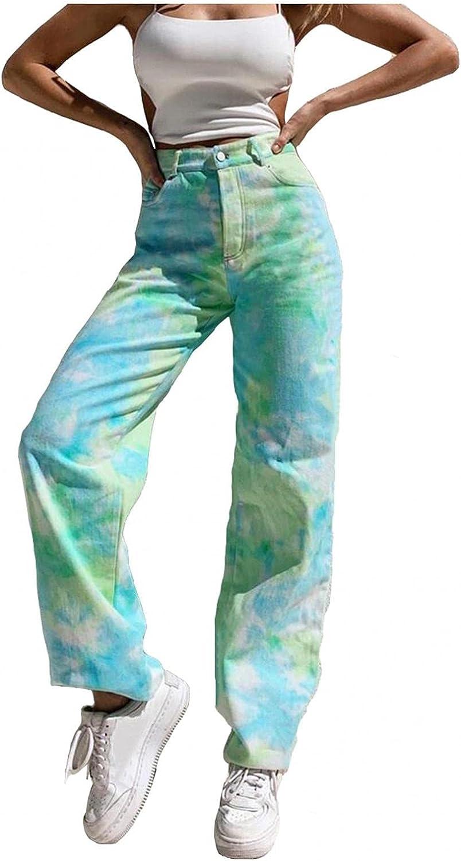 Women's Fashion Y2K Jeans, High Waisted Jeans Vintage 90s Slim Flared Denim Pants Tie Dye Trousers Wide Leg Cargo Pants