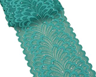 5 Yards Peacock Lace Ribbon with Sequins Stretch Floral Tulle Lace Trim Elastic Webbing Fabric Width 7 inch for DIY Jewelry Making Craft Gift Wrapping Wedding Party Decor (Teal)