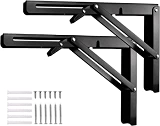 Morinbo Folding Shelf Brackets 12inch Arm 150lbs Bearing Capacity Heavy Duty Cold Rolled Steel in Black Finish Collapsible Brackets Space Saving DIY Bracket Sold in Pairs