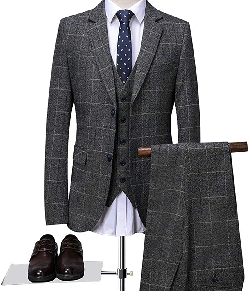 Mens Classic Gray Check-Plaid Tweed Herringbone Slim Fit Vintage Suits Vest Waistcoat