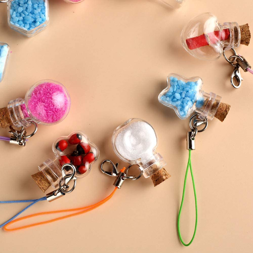 JIUYUE Mini Glass Color Bottles Wishing Bottle Tiny Jars Vials Cute Bottles with Cork for Party Wedding DIY Decoration Mix 9 Colors