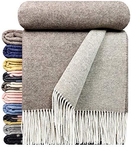 STTS International Kaschmir Decke Wolldecke Wohndecke 100% Merinowolle - Kaschmir - Mix sehr weiches Plaid Kuscheldecke Faro Braun-Beige