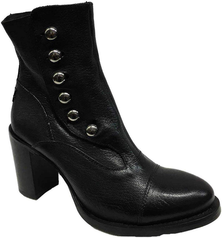 LE RUE MARCEL Frauen Stiefel mit Knpfen und Zip Schwarz Absatz cm 8 Made in