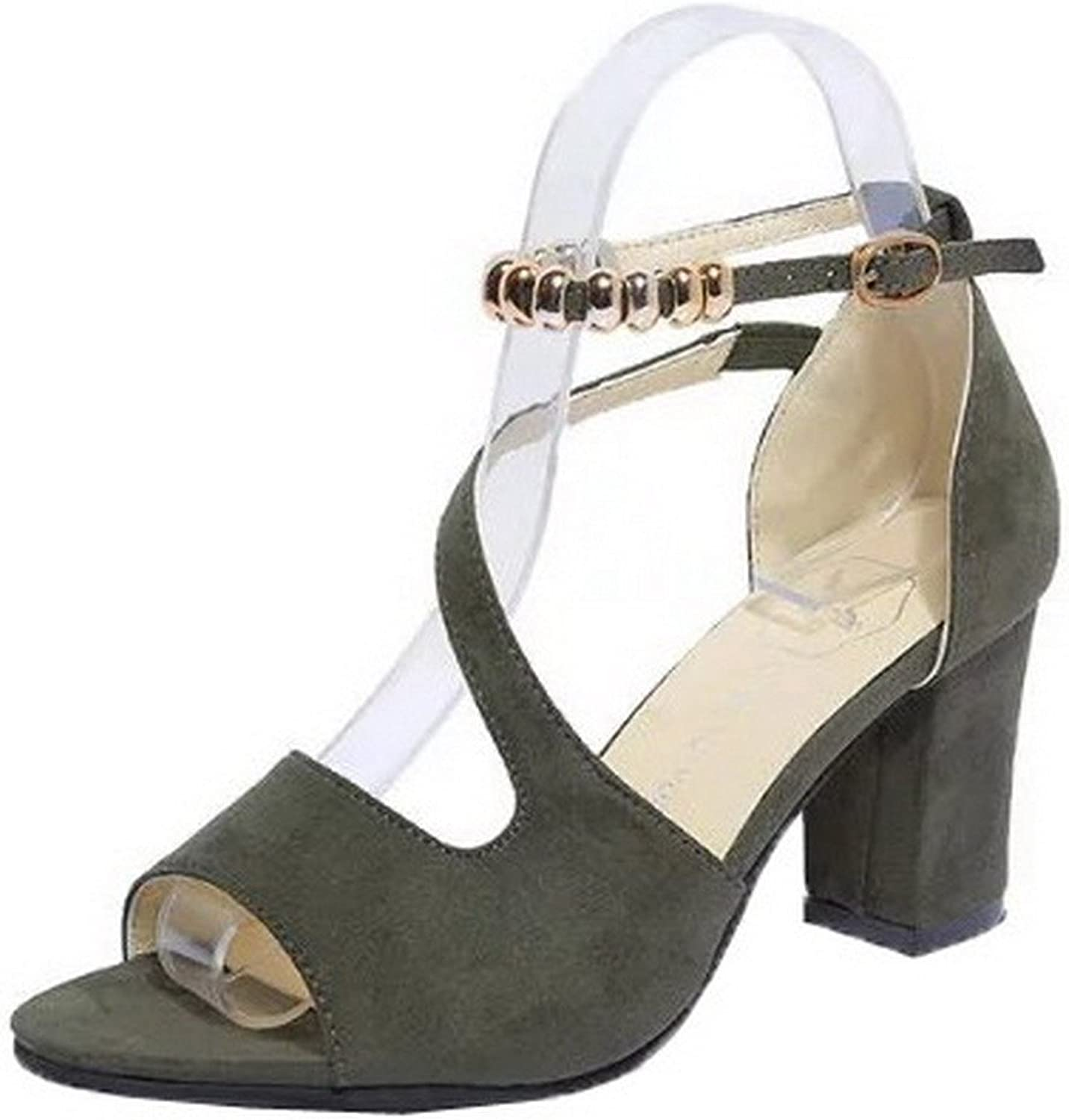 WeenFashion Women's Buckle High-Heels Frosted Solid Open-Toe Sandals