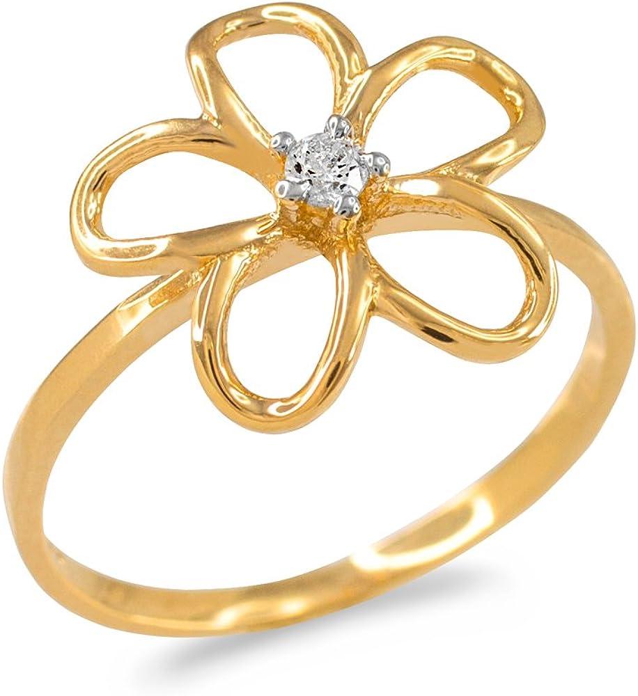 Diamond Solitaire Hawaiian Tulsa Mall Plumeria Flower Super special price Go Yellow Ring in 10k