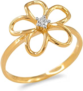 plumeria diamond engagement ring
