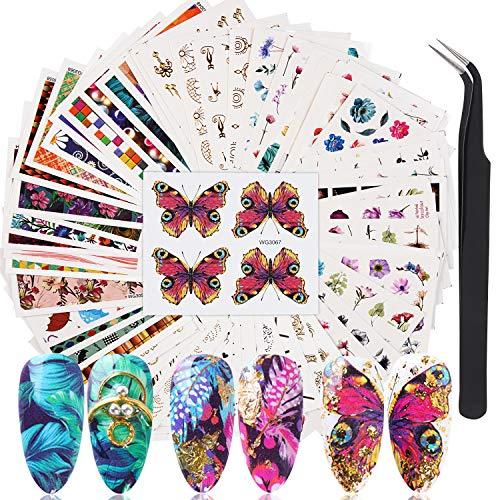 FunPa Adesivi per unghie,78 fogli adesivi per unghie estivi autoadesivi adesivi per unghie floreali decalcomanie per donne ragazze bambini manicure fai da te o salone di bellezza con pinzetta curva
