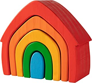 Wooden Rainbow House Stacker Grimm's Rainbow Colored House 5-Piece Stacker Waldorf Montessori Preschool Homeschool Nesting...