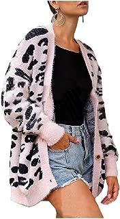 Howely Women's Long Sleeve Open Front Knit Warm Leopard Print Cardigan