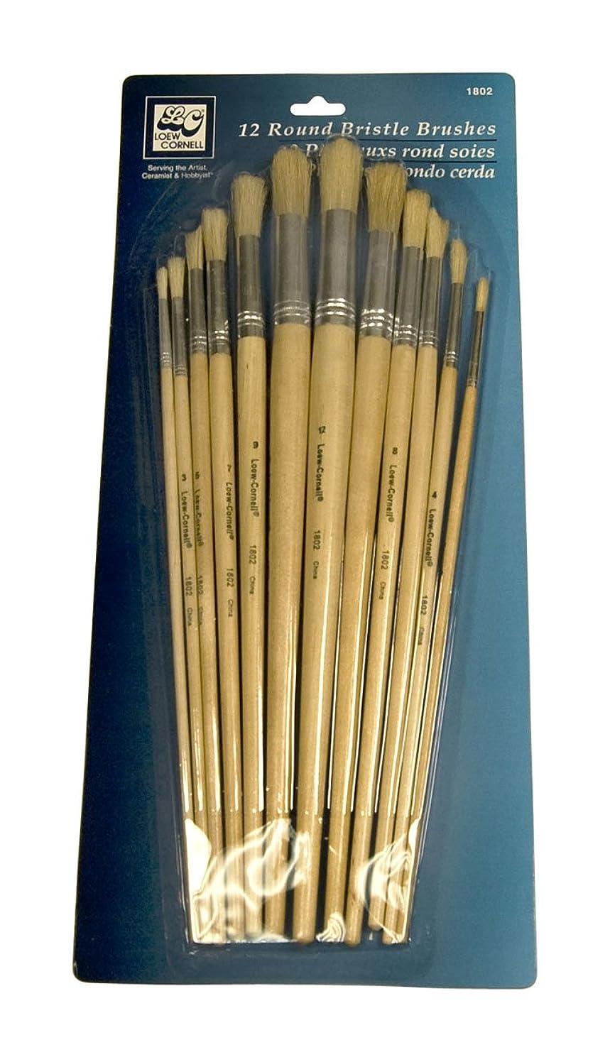 Loew-Cornell 1802 12-Piece Brush Set, Bristle, Round