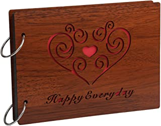 Farway DIY Photo Album Wood Cover Anniversary Scrapbook Album Picture Book with Black Pages for Wedding Friend Family Couples Graduation Travel Love Story Memory (Happy Everyday)