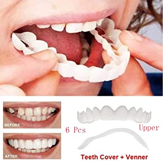 6ピースホット新しいシミュレーション美白上歯一時的な笑顔快適に適した歯セット化粧張りベニア義歯プラスチック収納ボックス