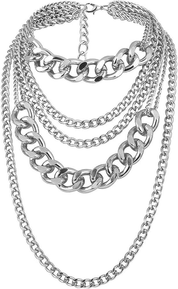 Jiecikou Fashion Necklace Multi-layer Long Chain Punk Hip Hop Party Jewelry Gift for Girls Women Men