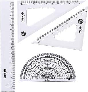 4 Packungen Geometrie Set Lineal Parabel Geodreieck Zeichenset 4-teilig idena