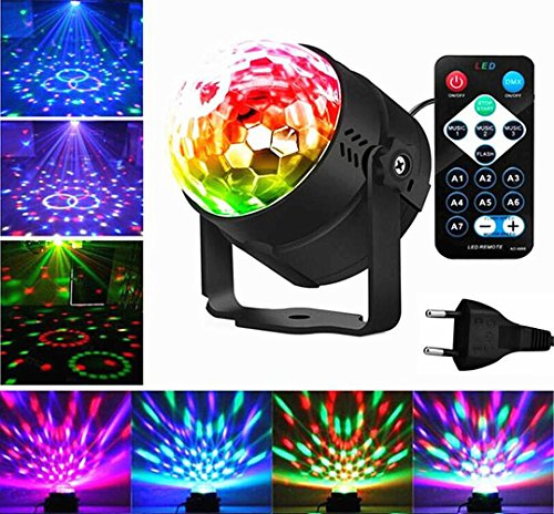 Emwel Discokugel Mini LED Party Lampe Beleuchtung Lichteffekte 3W 7 Farbe RGB Sprachaktiviertes Kristall Magic Ball Bühnenlicht für Kinder...
