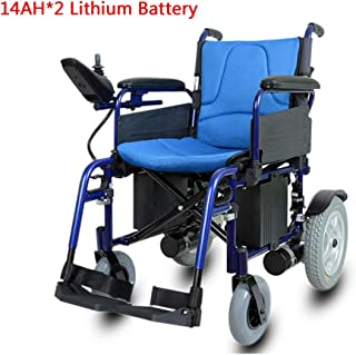 LFF WHEELCHAIR De Peso Ligero Plegable Silla de Ruedas eléctrica, aleación de Aluminio Silla de Ruedas eléctrica, para los inválidos y Movilidad de Edad Avanzada, Potente Motor Dual