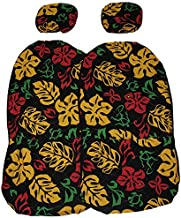 Hawaiian car seat cover with Separated Headrest, Rasta Color, Set of 2 Front Bucket Seat Covers