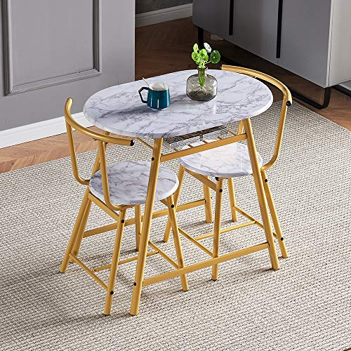 HomeSailing Dining Table and Chairs Set of 2 Marble-like Pattern Compact 3 Piece Kitchen Breakfast Bar Set Wood Finish Metal Frame with for Small Apartment Space Saving (Yellow/Gold)