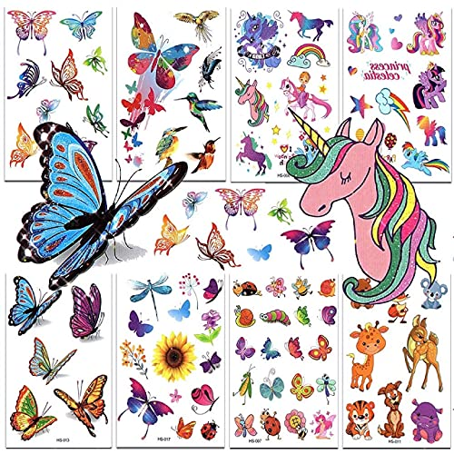 Glitter Tattoos Temporary Tattoos for Kids Birthday Party Supplies Colorful...