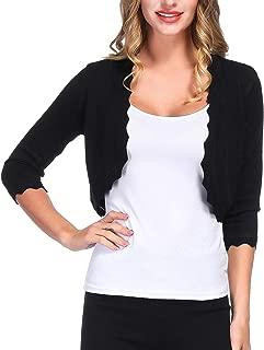 Women's 3/4 Sleeve Shrug Cardigan Knit Open Front Cropped Bolero Sweater S-XXL