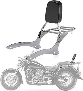PSLER® Rückenlehne Sissy Bar, Gepäckträger, Beifahrer Rückenkissen Pad für Yamaha V Star Drag Star XVS1100 250