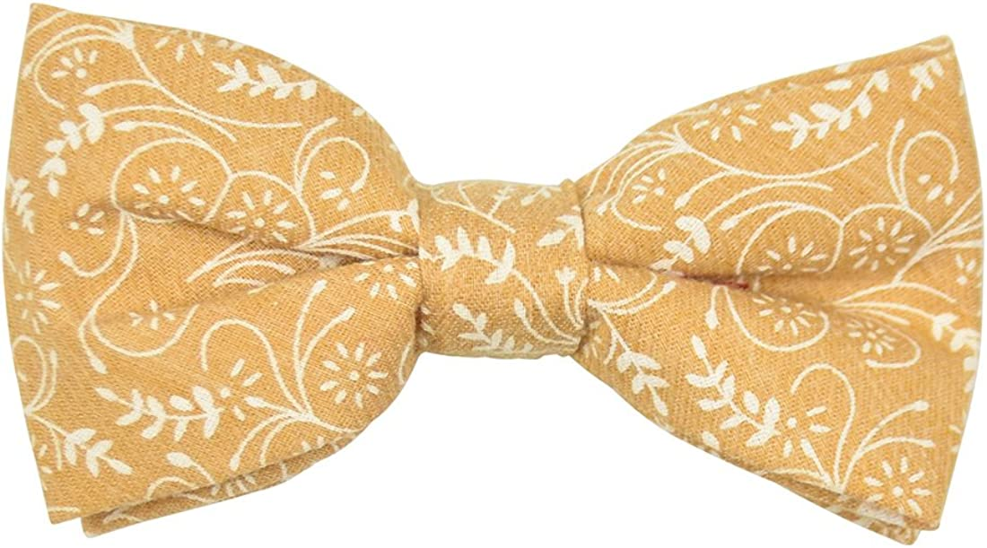 Floral Cotton Bow Tie with Metal Clip