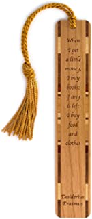 Erasmus Quote About Buying Books Handmade Wooden Bookmark with Tassel