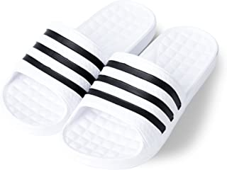 Korean Style Three Striped Eva Slide Sandals Slippers for Women or Men (White)