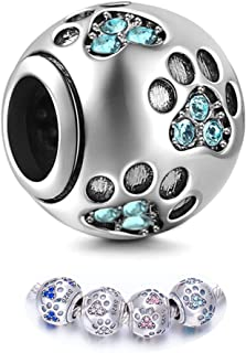 Sterling Silver Dog Paw Print Charm Beads with Cubic Zirconia Crystals fit Pandora Style Beaded Bracelets for Pet Lovers