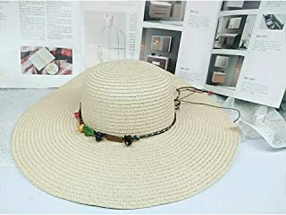 BEESCLOVER Women Outdoor Wide Brim Hat Solid Color Straw Plaited Hat for Beach Camping